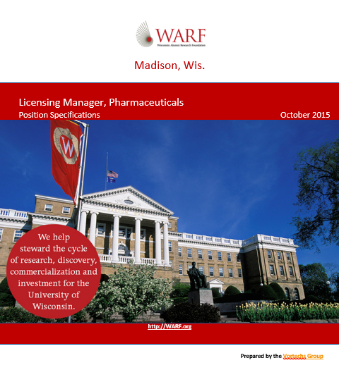 Wisconsin Alumni Research Foundation Licensing Manager